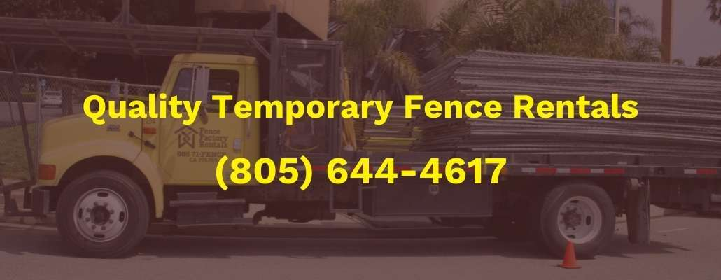 Fence Factory Rentals truck delivering temporary fence panels near The Collection, Oxnard, California.